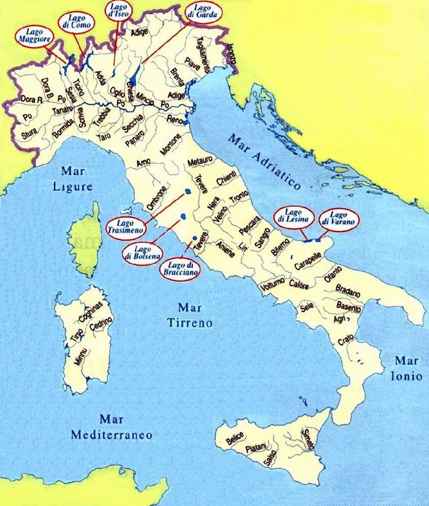 Mapa de los ríos de italia