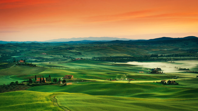 Campiña de Toscana con sus paisajes inolvidables