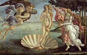 """Popular obra de Botticelli """"Nacimiento de Venus"""" en la Galería de los Uffizi de Florencia"""