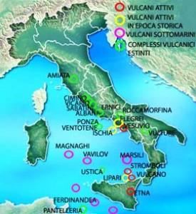Mapa de los volcanes de Italia