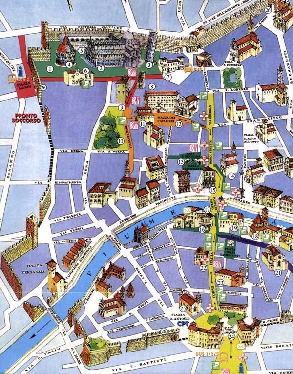 Mapa, plano y callejero de Pisa