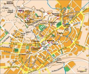 Mapa con el plano y callejero de Bérgamo