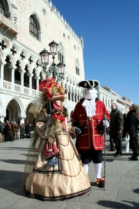 Plaza San Marcos en el carnaval de Venecia