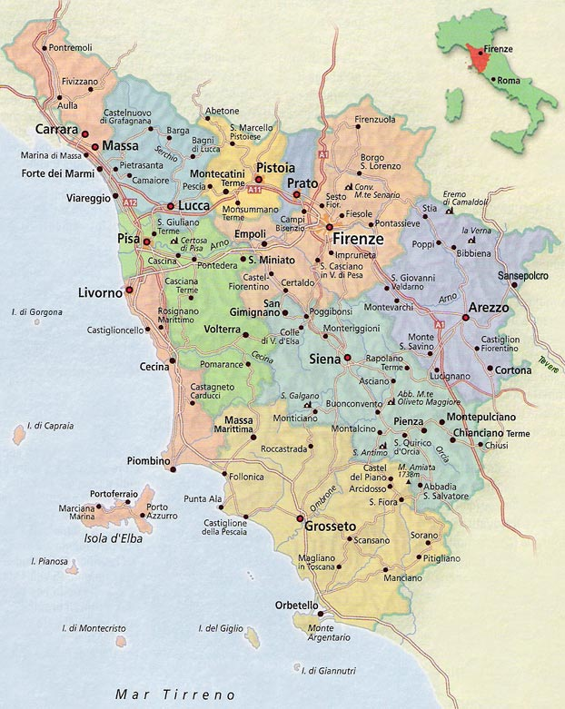 Mapas, planos y callejeros de Toscana