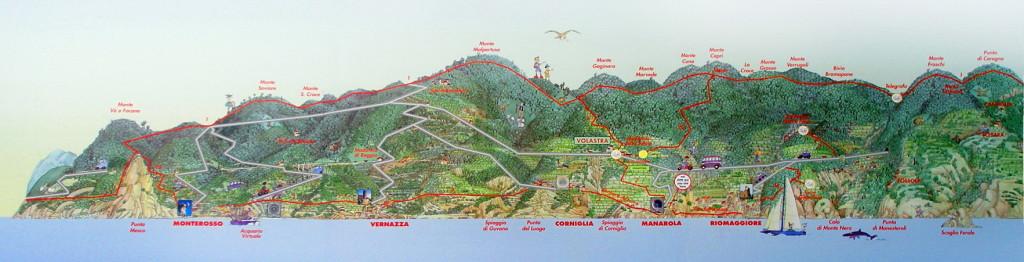 Mapa del relieve y orografía de Cinque Terre