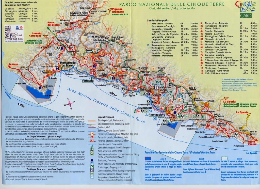 Mapa de las rutas del Parque de Cinque Terre. Pase Cinque Terre Card