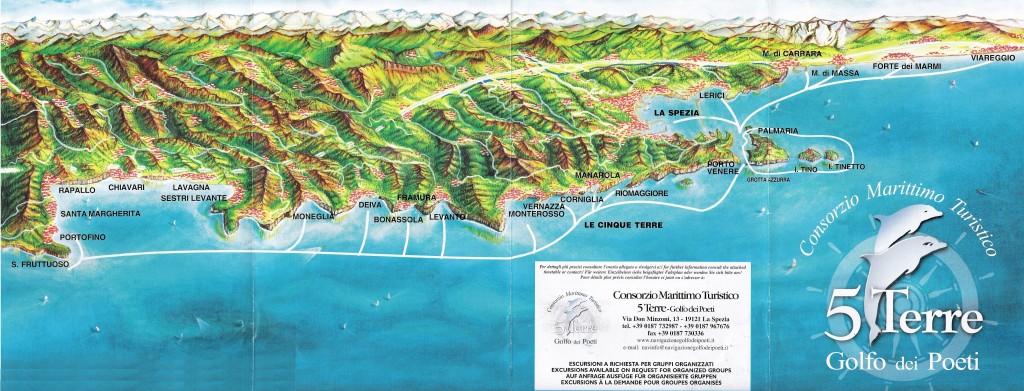 Mapa de las excursiones en barco del Consorcio Marítimo de Cinque Terre