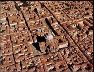 El centro de Pavía desde el cielo
