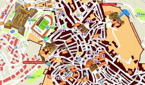 Mapa del centro de Siena