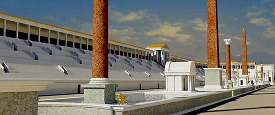 La Spina, coronada por dos obeliscos egipcios servía para marcar el recorrido