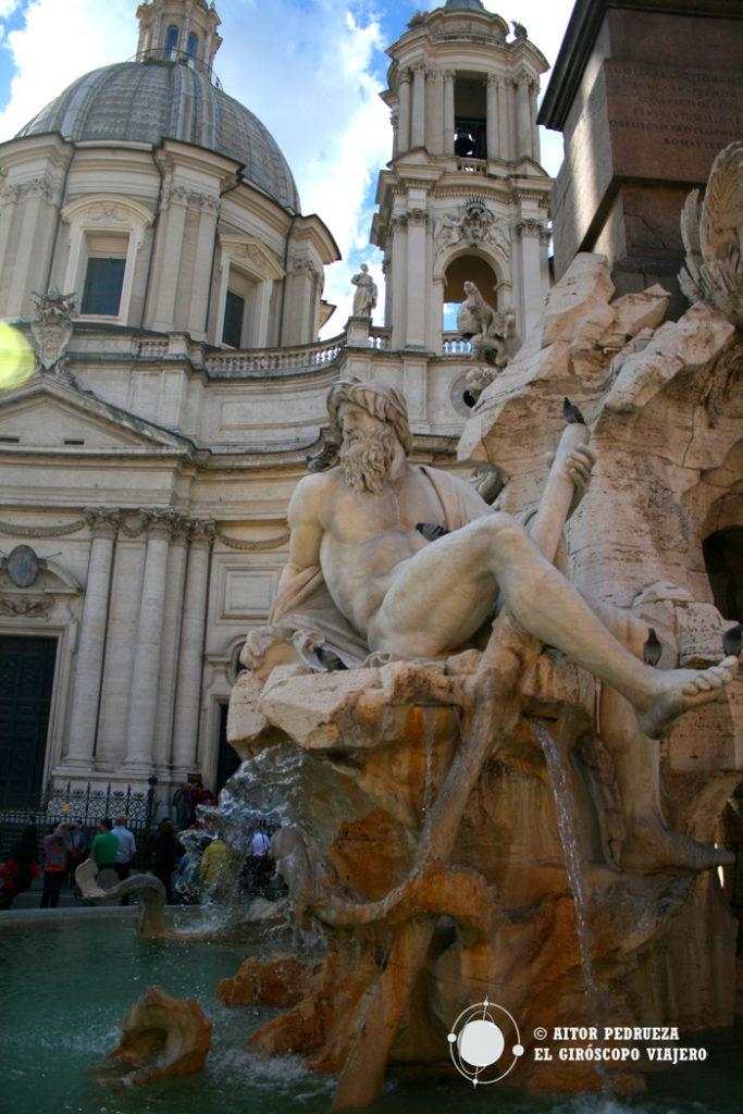 La Fontana de los Cuatro ríos en Piazza Navona
