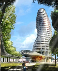 Boceto de la futura torre costera de Rímini