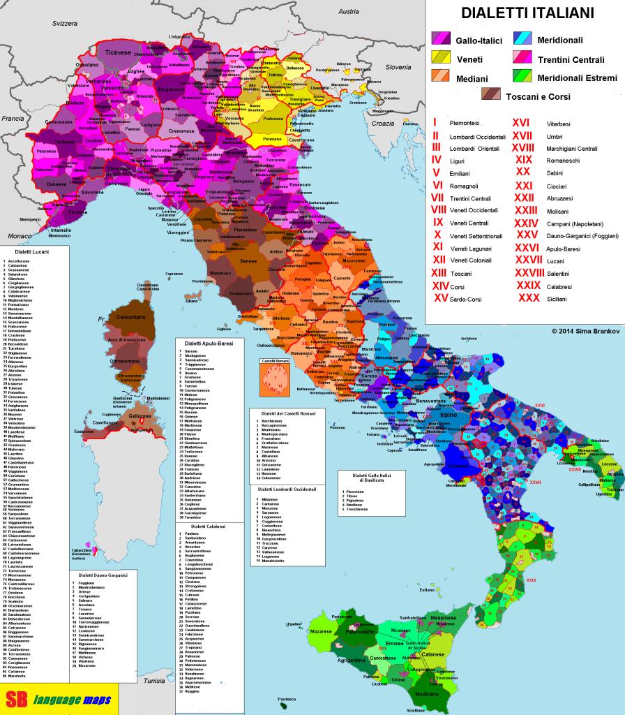 Mapa de los dialectos de Italia