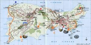 Mapa de las ciudades y monumentos de Capri