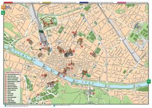 Mapa plano de monumentos de Florencia