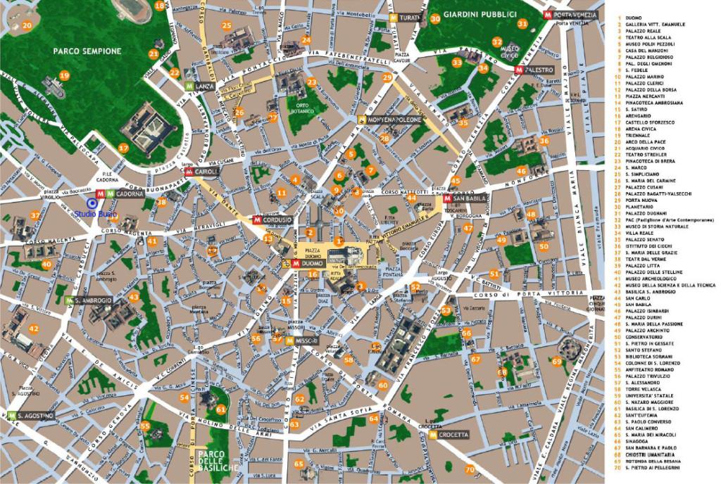 Mapa turístico de Milán con los monumentos