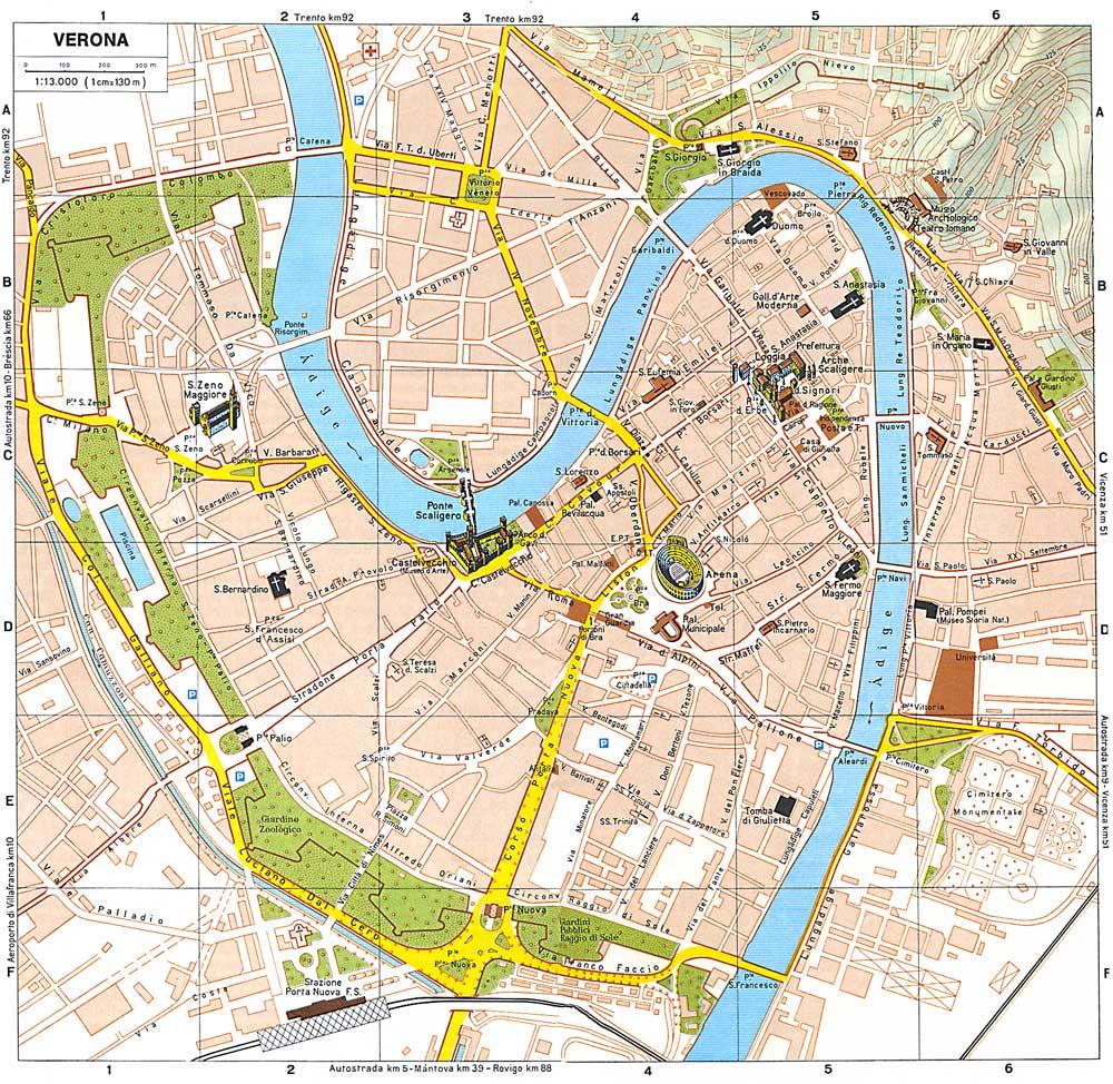 verona mapa Mapa, plano y callejero de Verona   Guía Blog Italia verona mapa