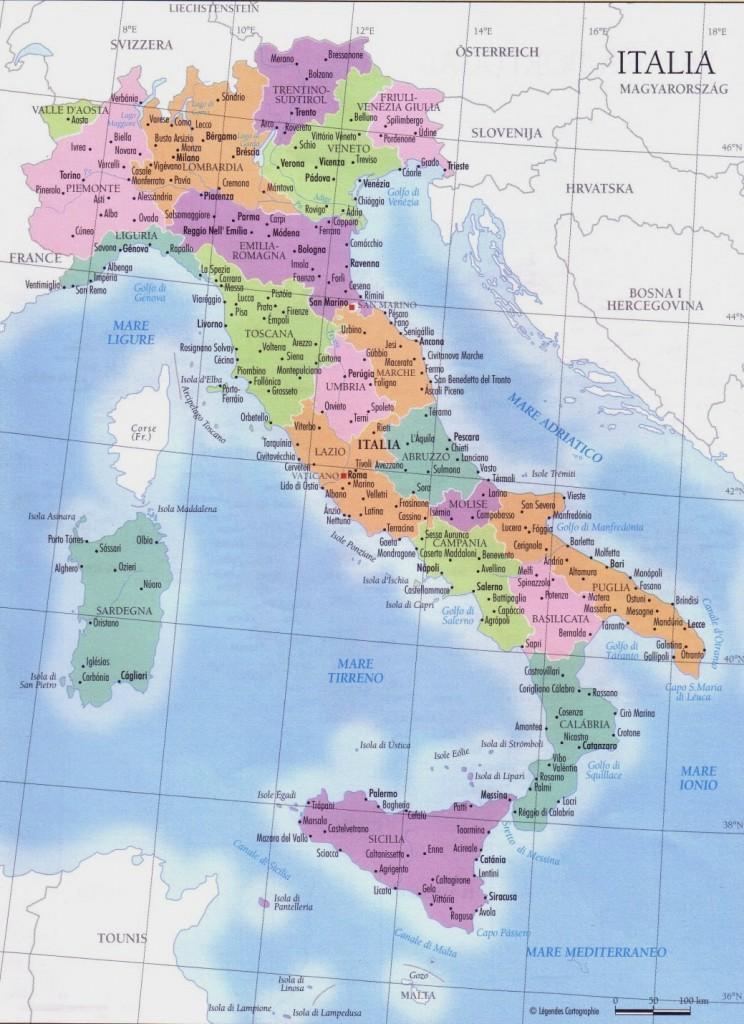 Mapa de las regiones de Italia