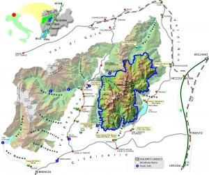 Mapa del aréa de Dolomitas designado patrimonio humanidad por la Unesco