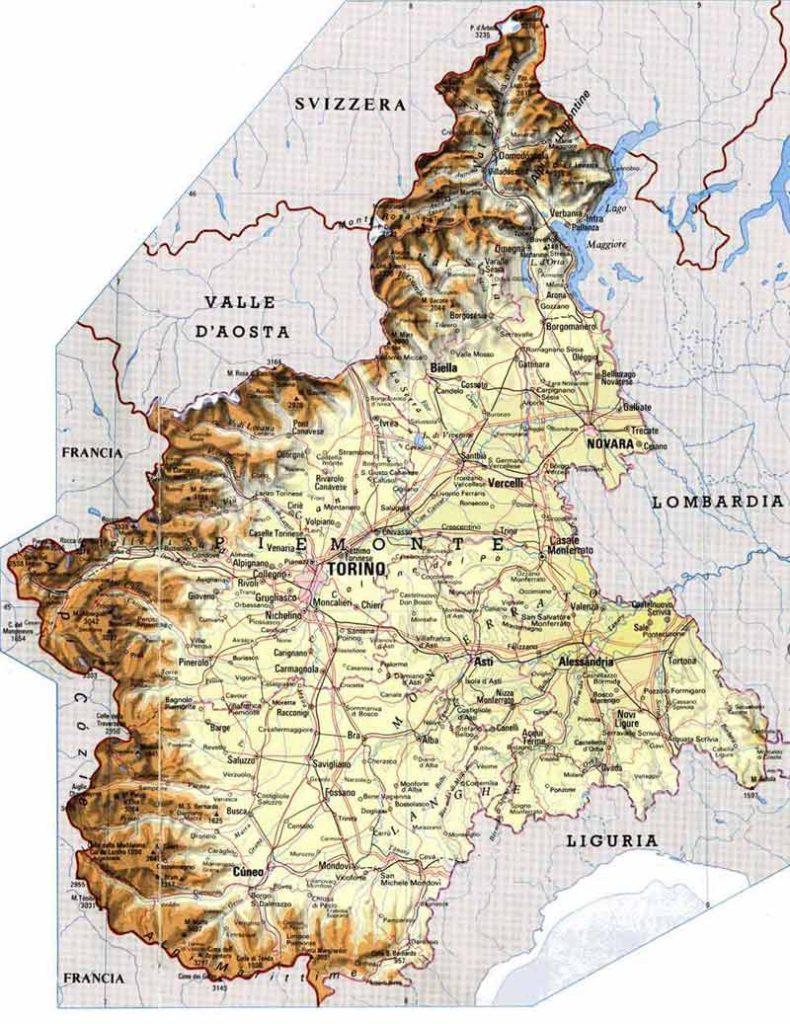Mapa de carreteras del Piamonte
