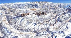Mapa de estaciones de esquí de Dolomitas