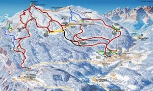 Mapa de las pistas de esquí de Paganella