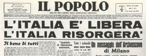 """El periódico """"Il Popolo"""" se hace el eco del fin de la guerra"""