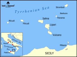 Mapa de las Islas Eolias