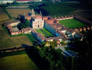 La Certosa de Pavía desde el cielo