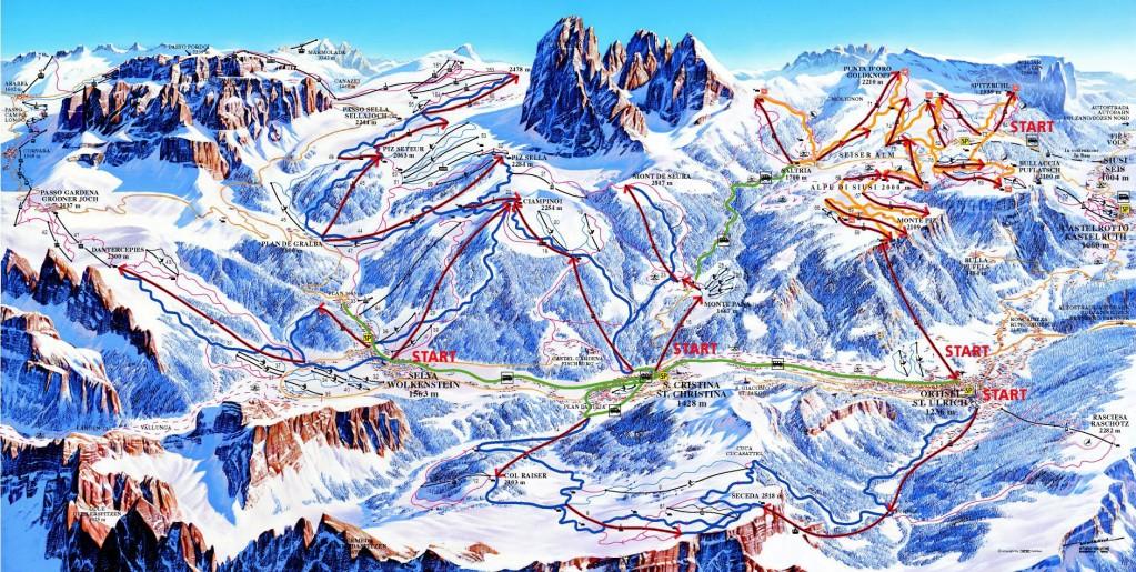 Mapa de la ruta de esquí de Sella Ronda