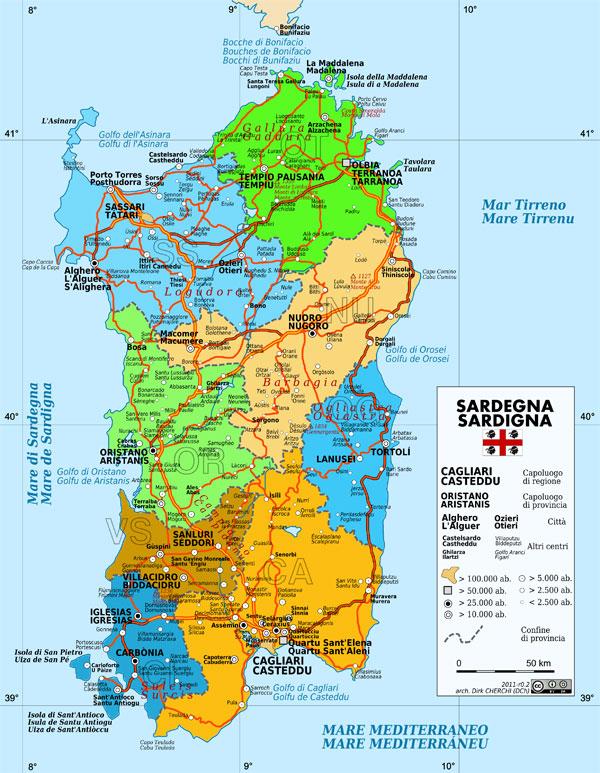 Mapa de Cerdeña   Guía Blog Italia