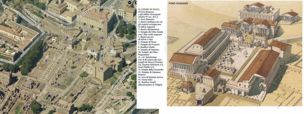 Recreación 3d de los edificios del Foro Romano