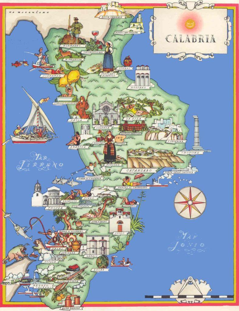 Mapa de turismo en Calabria