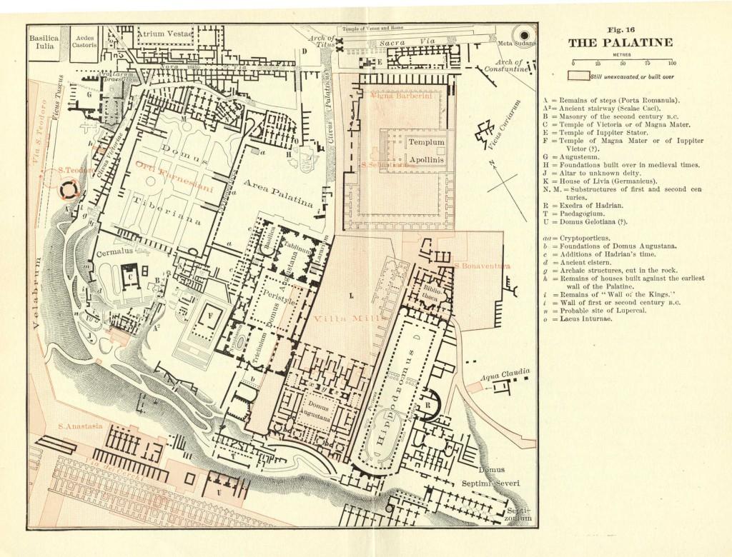 Mapa de los edificios romanos que albergaba el Palatino
