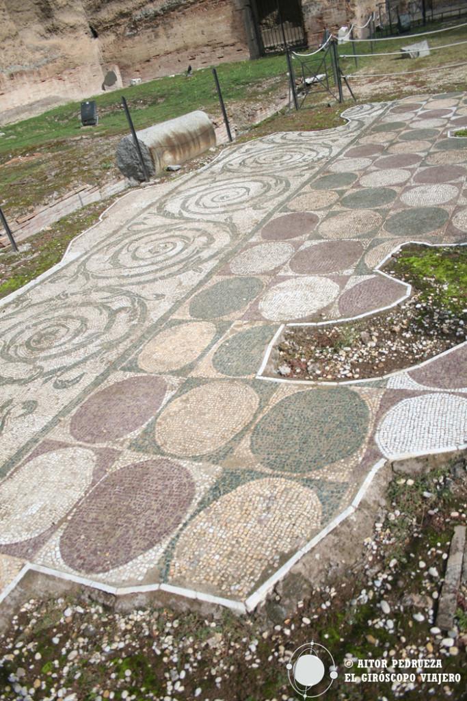 Mosaicos decorativos del suelo de las termas