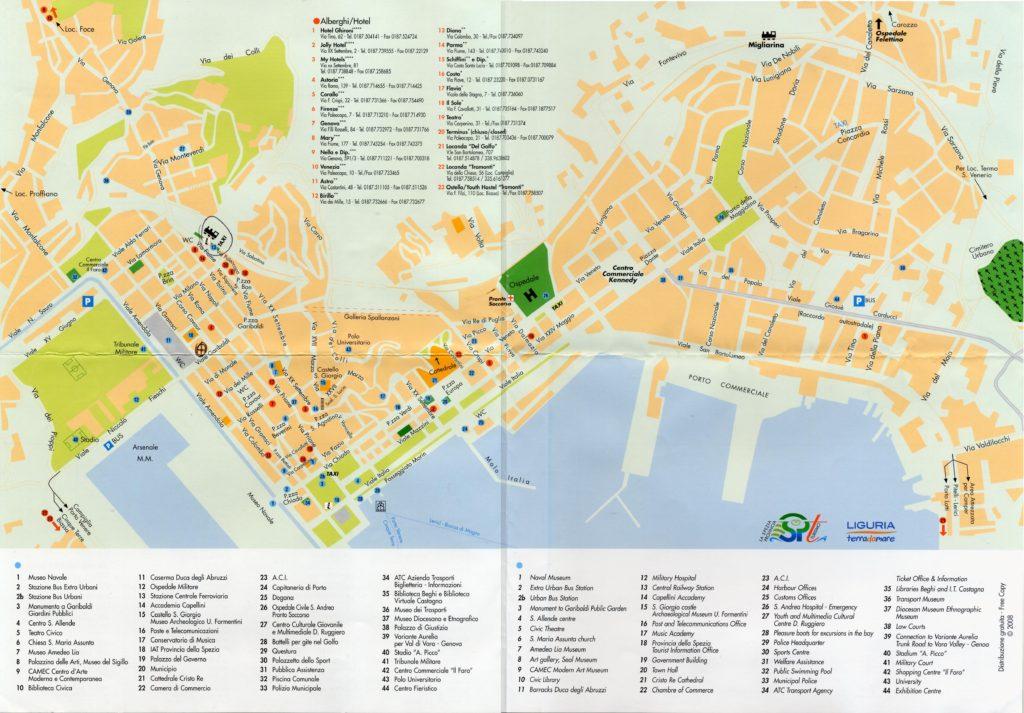 Mapa turístico de La Spezia