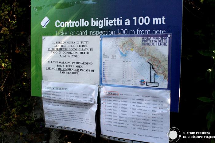 Panel que indica el comienzo del recorrido a pié entre los pueblos de Cinque Terre