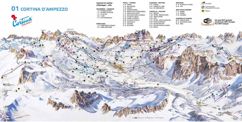 Mapa de Pistas de Esquí cerca de Cortina d'Ampezzo - Dolomitas