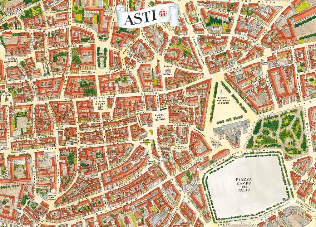 Mapa del centro histórico de Asti