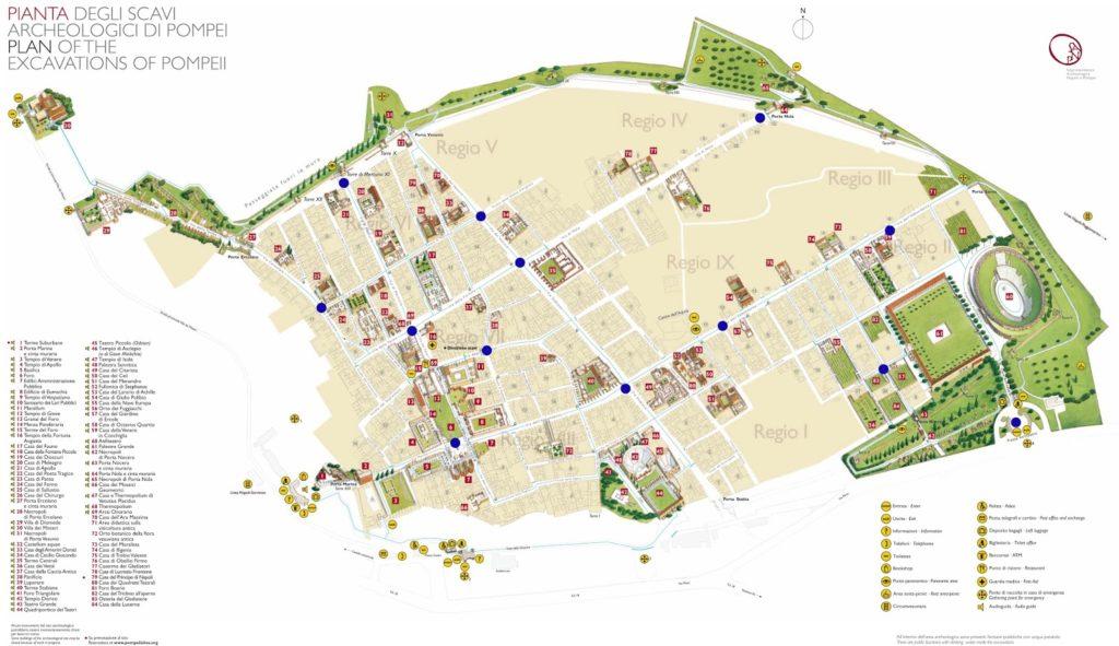 Mapa de las ruinas romanas de Pompeya