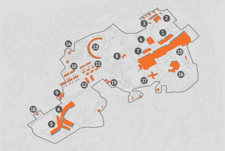 Mapa de las áreas de la ciudad industrial Olivetti