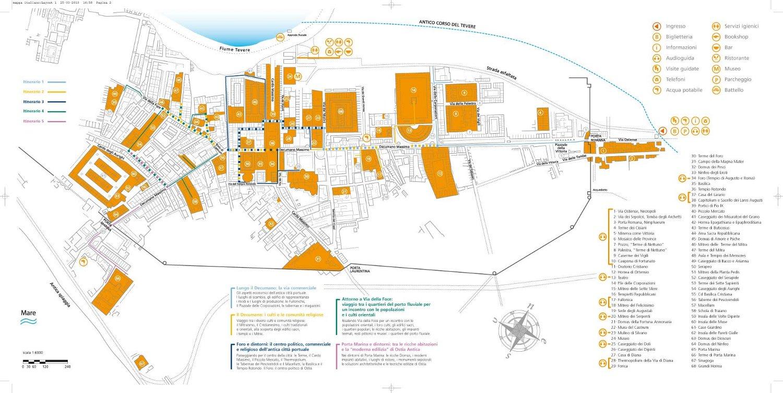 Mapa con detalle de los espacios a ver en el yacimiento de Ostia Antica