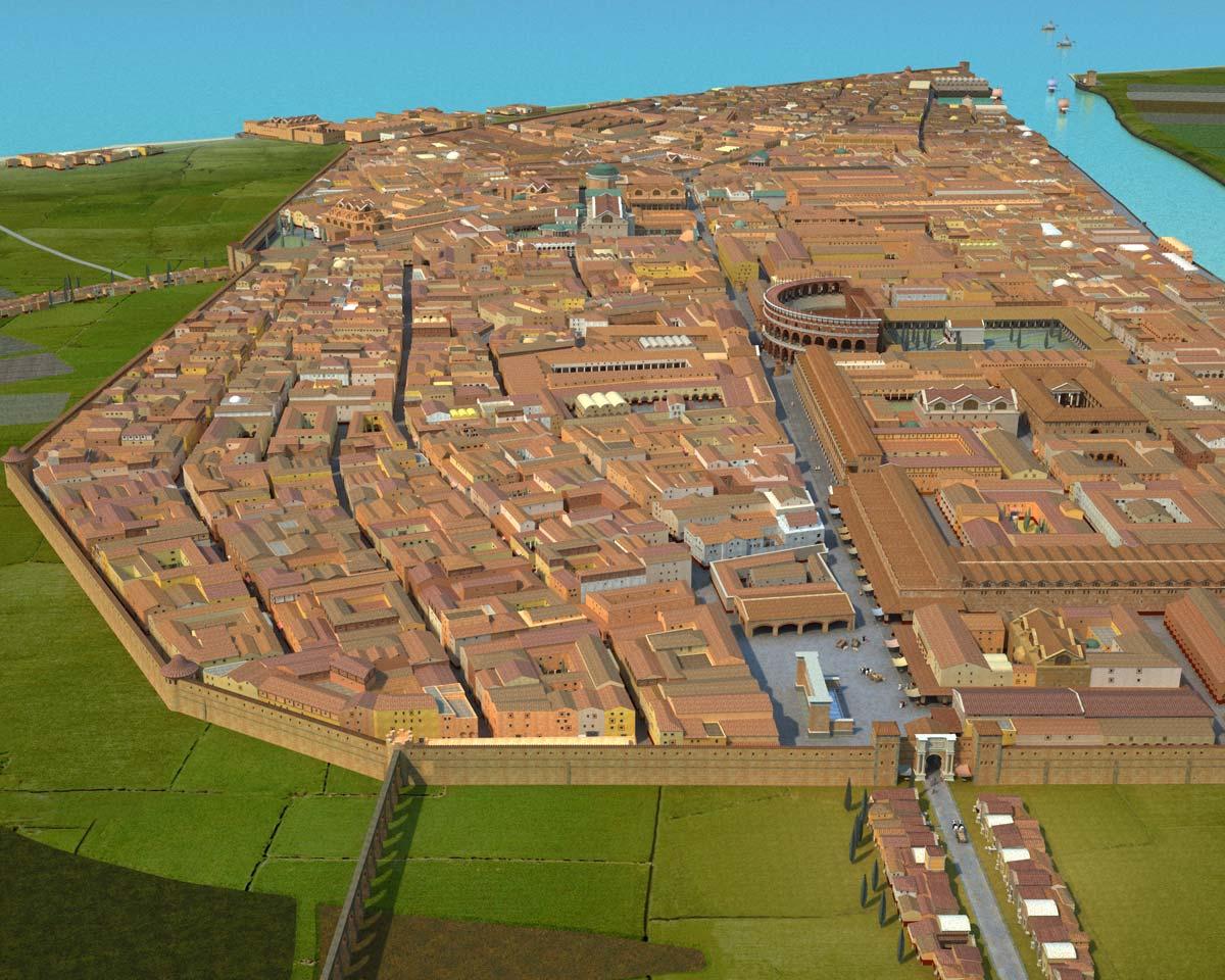 Recreación de la ciudad romana de Ostia